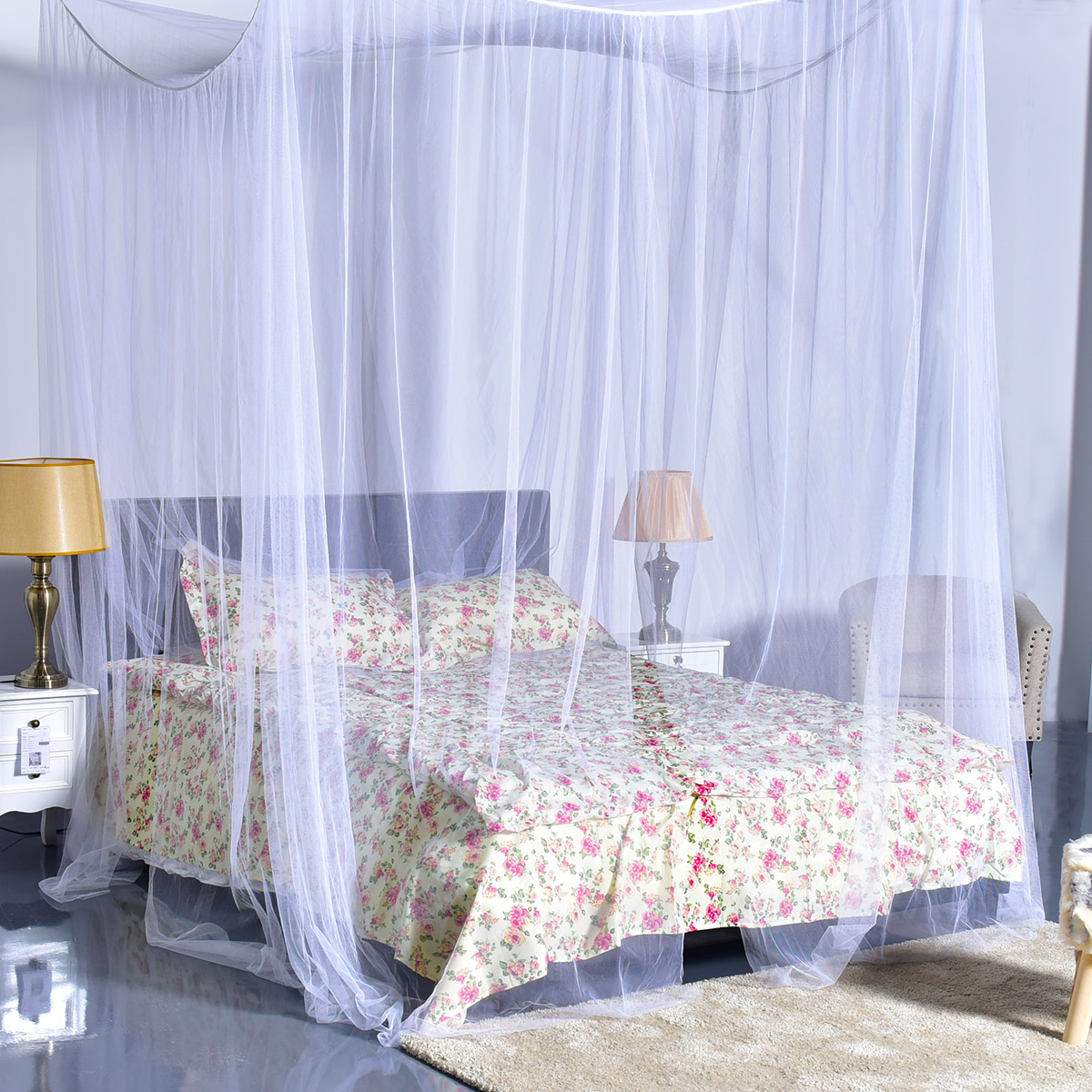 White Bed Canopy 4 corner post bed canopy mosquito net full queen king size netting
