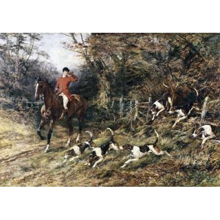 Calling Hounds Out of Cover Canvas Art - Heywood Hardy (20 x
