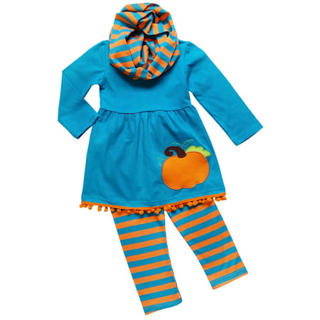 So Sydney Toddler Girls 3 Pc Halloween Fall Tunic Top Leggings Outfit, Infinity Scarf - Cute Halloween Outfits