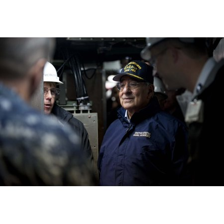 Laminated Poster Secretary Of Defense Leon E  Panetta Visits The Crew And Workers From General Dynamics Electric Boa Poster Print 24 X 36