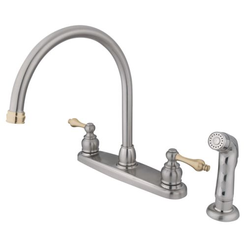 Kingston Brass KB72.ALSP Vintage Centerset Gooseneck Kitchen Faucet with Metal L