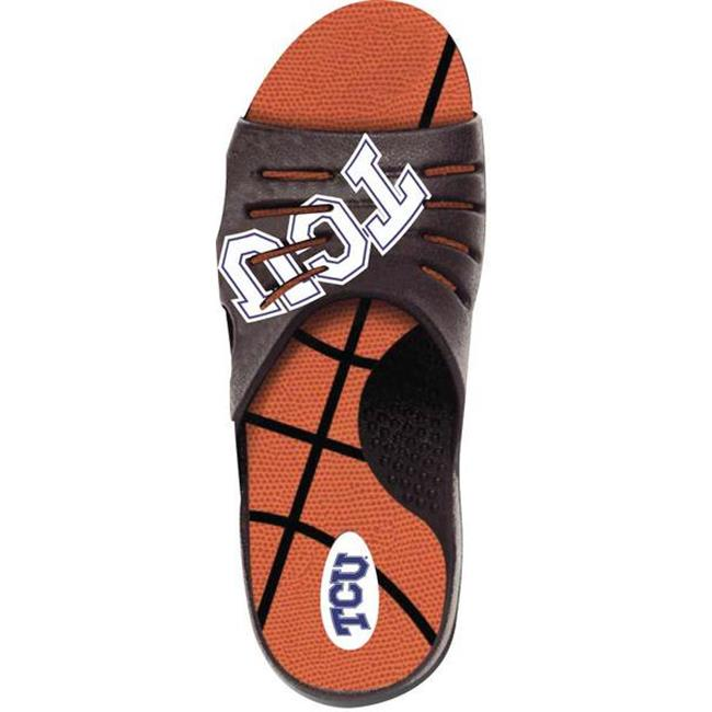 Jukz Sports TCU-BK01-LL TCU Horned Frogs Basketball Unisex Sports Slides, 2L