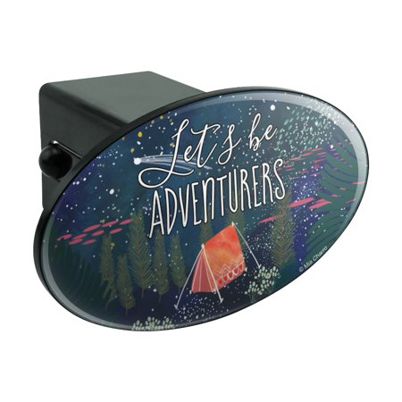 Let?s Be Adventurers Tent Camping Night Moon Shooting Stars Oval Tow Hitch Cover Trailer Plug Insert (Mckenna Shooting For The Stars Part 1)