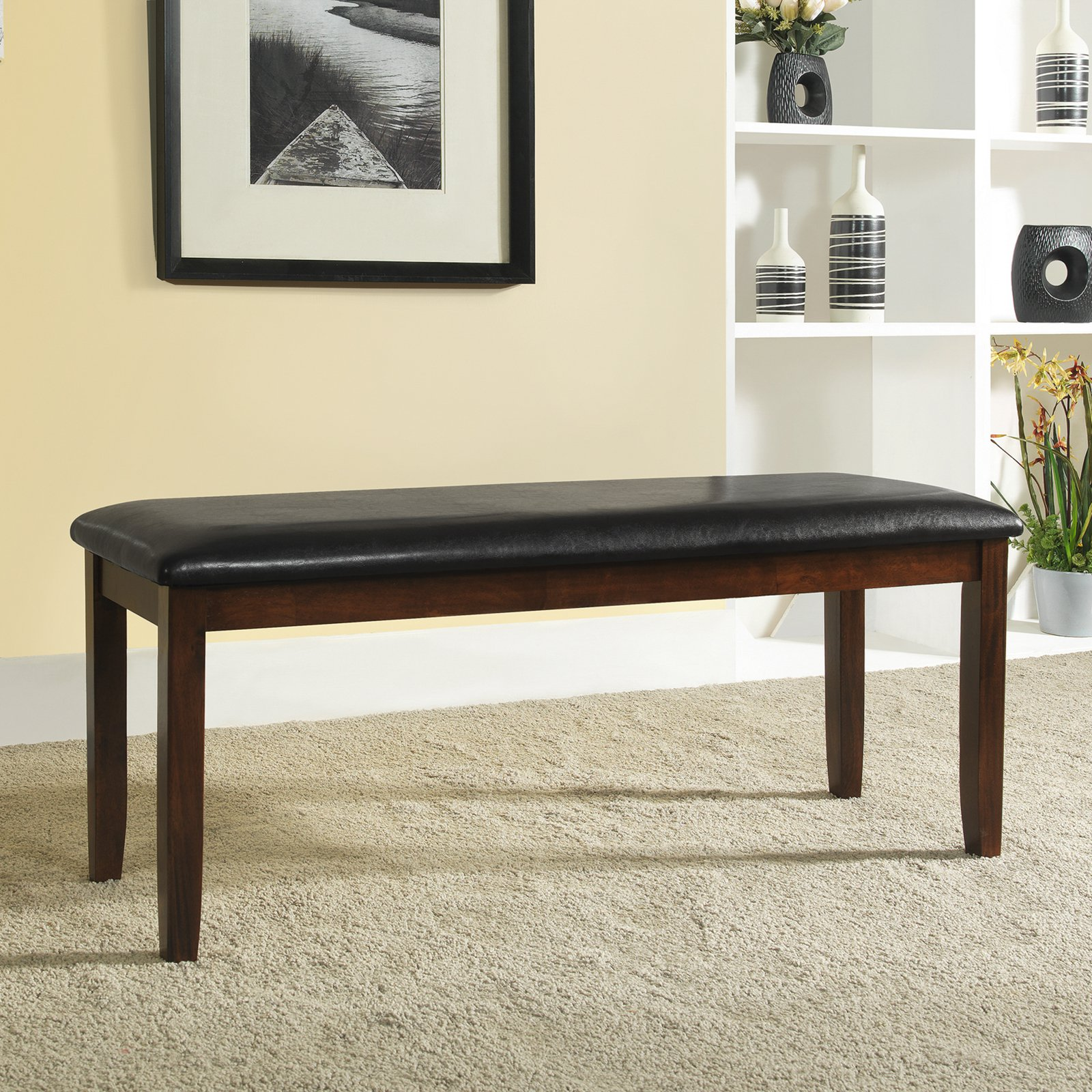 "Weston Home Bi-Cast 48""W Bench, Warm Cherry and Dark Brown Faux Leather"