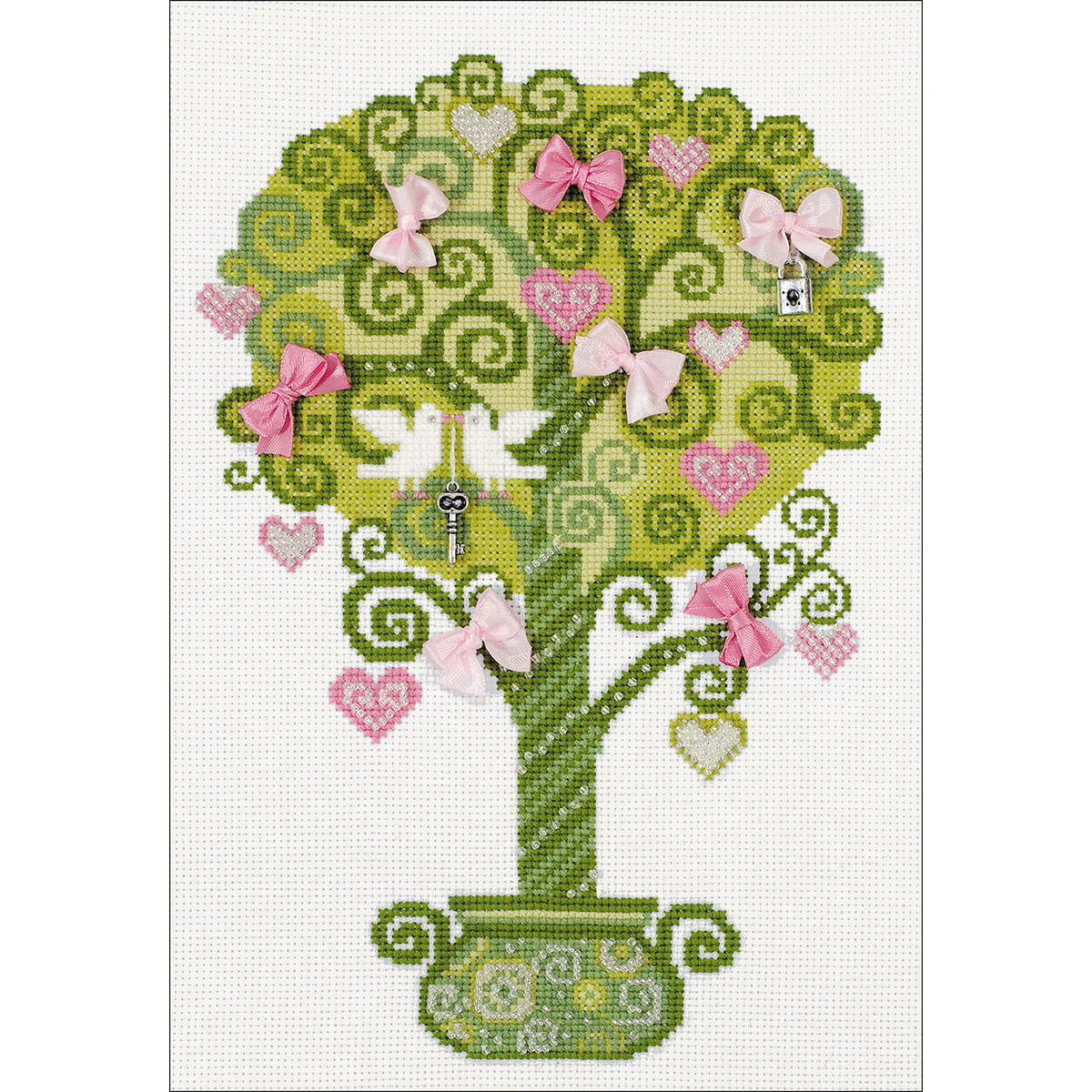 """14 Count RIOLIS Counted Cross Stitch Kit 8.25/""""X11.75/""""-Tree Of Happiness R1295"""
