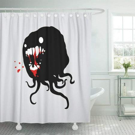 BPBOP Monster Evil Spirit with Tentacles Gnashing Its Bloody Teeth Cartoon Great for Halloween Comics Shower Curtain 66x72 inch (Coat Rack Monster Spirit Halloween)