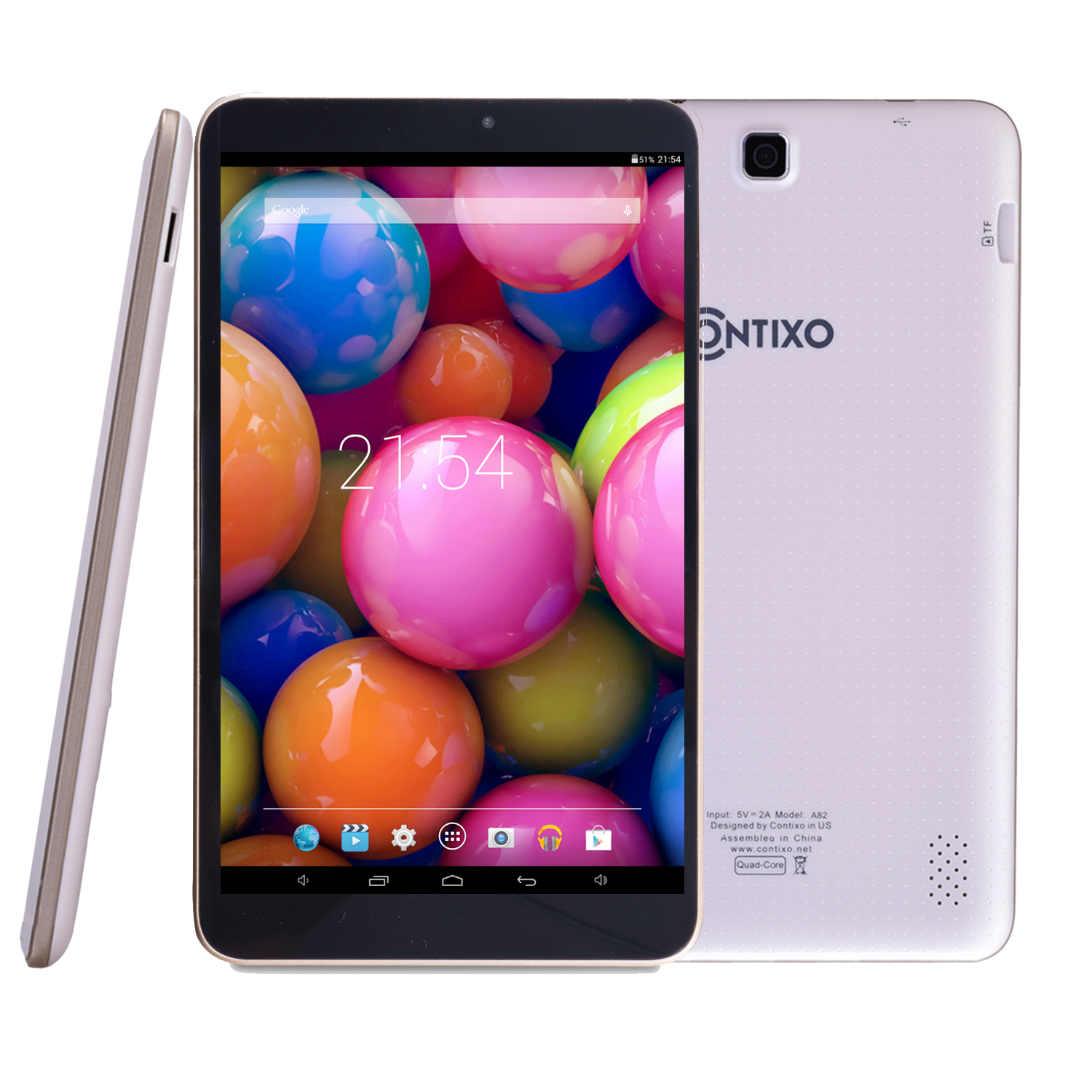 Contixo 8'' Quad Core Android 4.4 Tablet, IPS Screen 1280x800 Display, 1GB Memory, 8GB Nand Flash, Wi-Fi, Bluetooth (White)