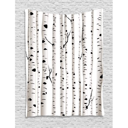 Birch Tree Tapestry  Forest Seasonal Nature Woodland Leafless Branches Grove Botany Illustration  Wall Hanging For Bedroom Living Room Dorm Decor  40W X 60L Inches  Black And White  By Ambesonne