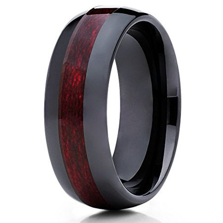 Silly Kings 8mm Black Ceramic Ring Burgundy Wood Insert Wedding Band Dome Men Women Comfort Fit