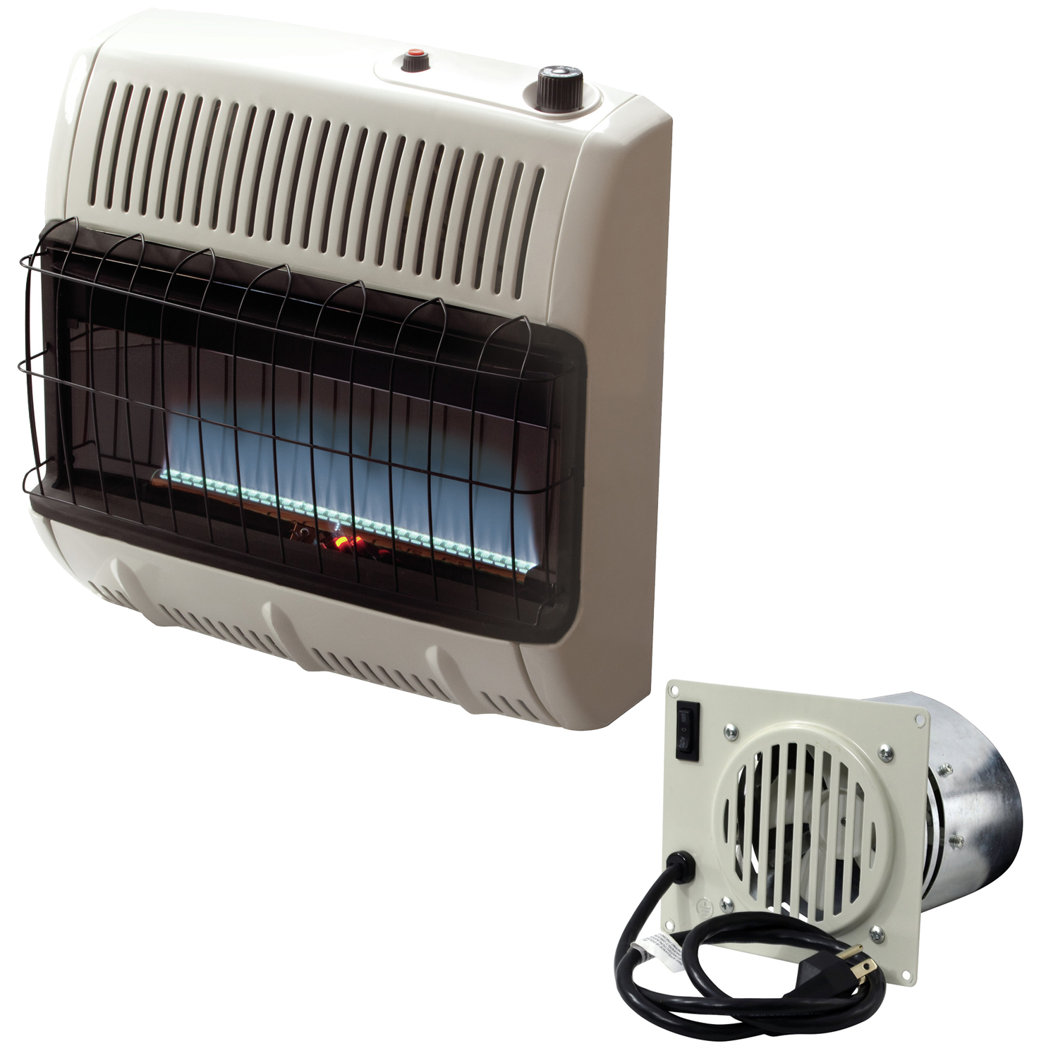 Mr. Heater Vent Free Blue Flame 30,000 BTU Natural Gas Heater w/ Blower Fan Kit