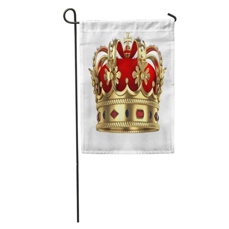 POGLIP Red King Royal Gold Crown Queen Royalty Monarchy Rendered Medieval Garden Flag Decorative Flag House Banner 12x18 inch - image 2 de 2