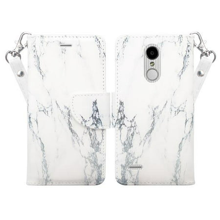 LG Tribute Dynasty Case, LG Aristo 2 Case, PU Leather Wallet [Wrist Strap]  Flip [Kickstand] Case Cover with Card Slots - White Marble