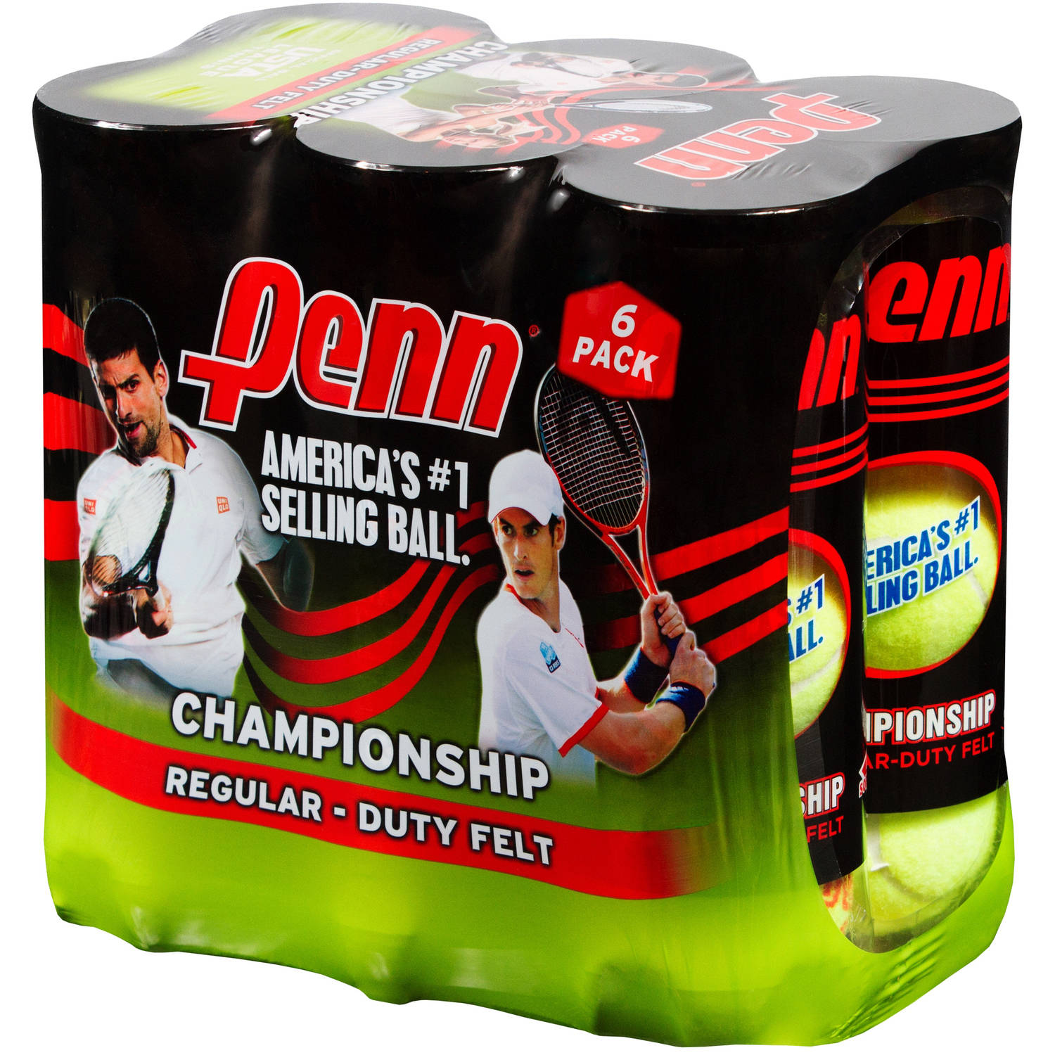 Penn Championship Regular Duty Tennis Ball Pack (6 Cans, 18 Balls)
