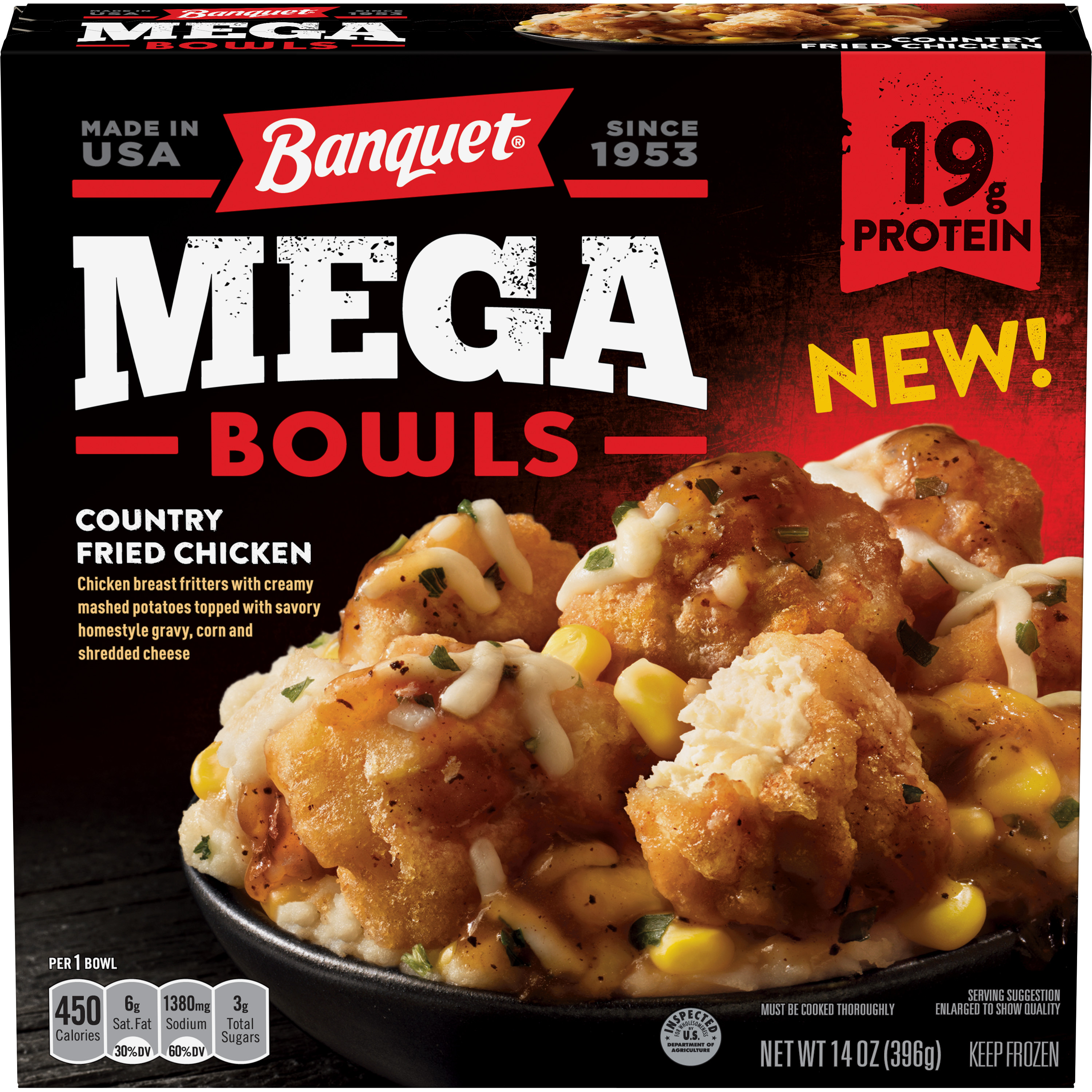 Banquet Mega Bowls Country Fried Chicken, 14 Ounce