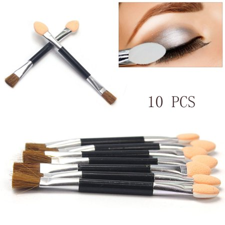 Outtop 10pcs Women Disposable Double Ended Sponge Brush Eye Shadow Applicator Tools Disposable Eye Shadow Applicator