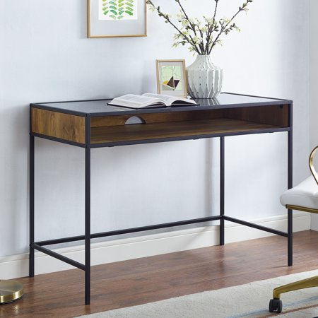 mainstays atmore 42 cube writing desk with glass top. Black Bedroom Furniture Sets. Home Design Ideas