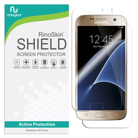 Galaxy S7 Screen Protector [Active-Grade] (Full Body Front & Back) RinoGear Flexible HD Crystal Clear Anti-Bubble Unlimited Replacement - Screen Protector Full Body