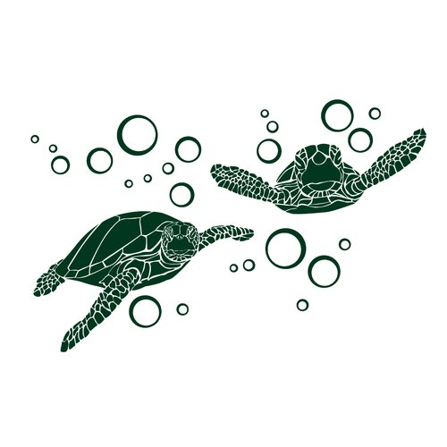 Dana Decals Green Sea Turtle with Bubble Small Wall Decal