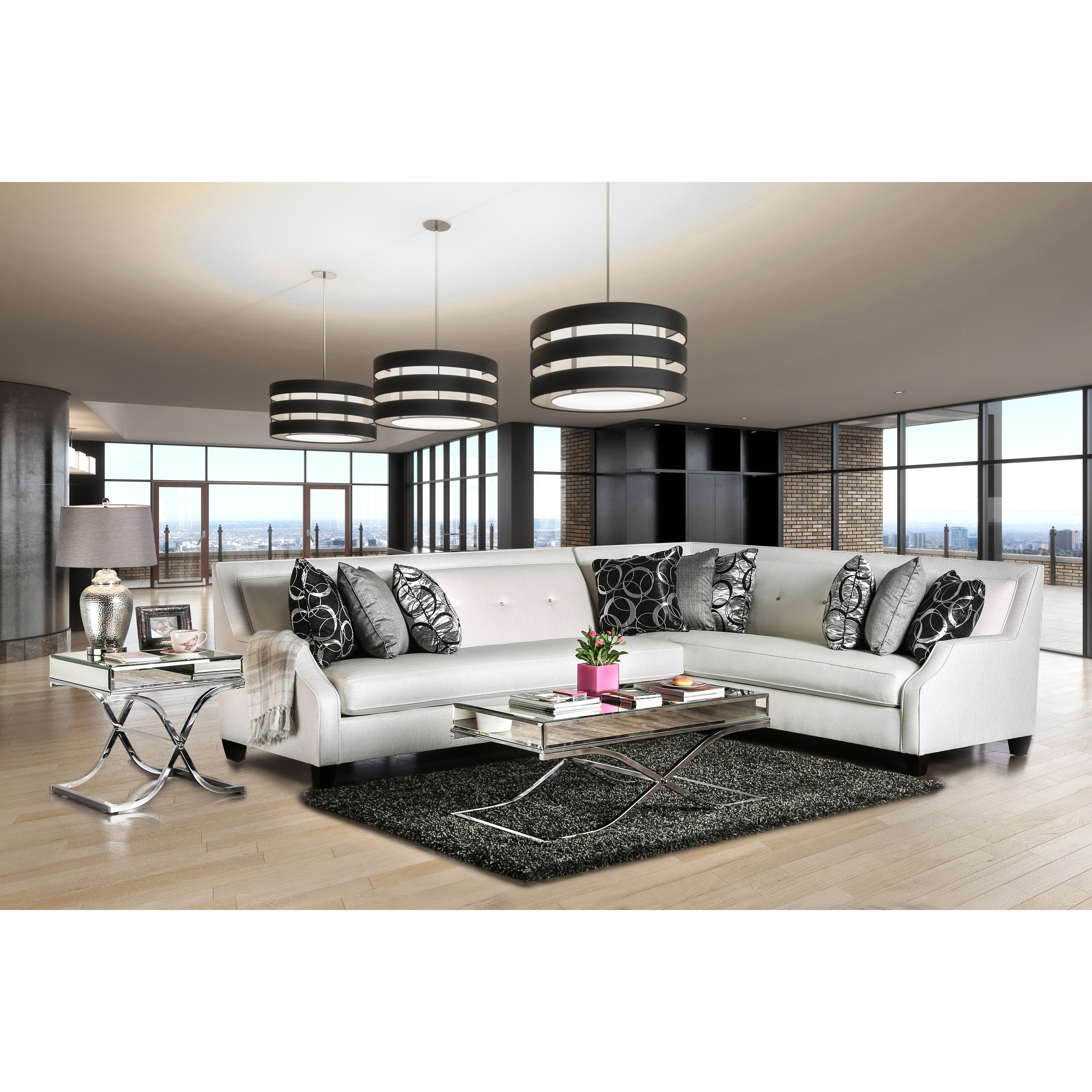 Furniture of America Clover Contemporary Tufted High-shine Fabric Off-White Sectional by