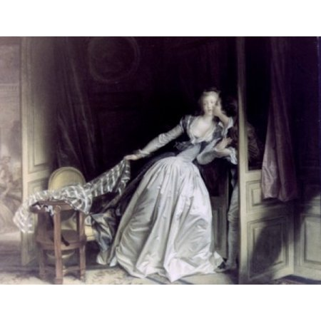 The Stolen Kiss by Jean Honore Fragonard oil on canvas 1780 1732-1806 Russia St Petersburg The Hermitage Canvas Art - Jean Honore Fragonard (24 x (The Stolen Kiss By Jean Honore Fragonard)