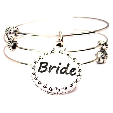 Bride Circle Triple Style Expandable Bangle Bracelet  Fits 7 5   Wrist  Chubby Chico Charms Exclusive