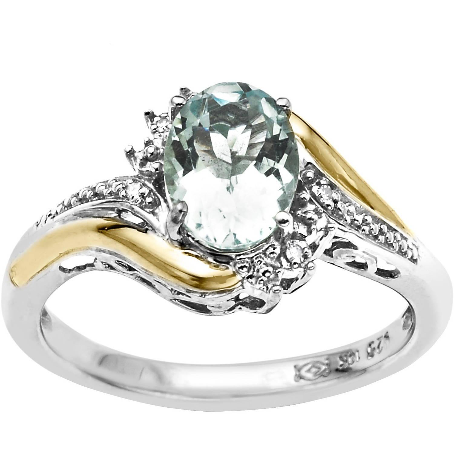 Duet Sterling Silver with 10kt Yellow Gold Oval Aquamarine and Diamond Accent Ring