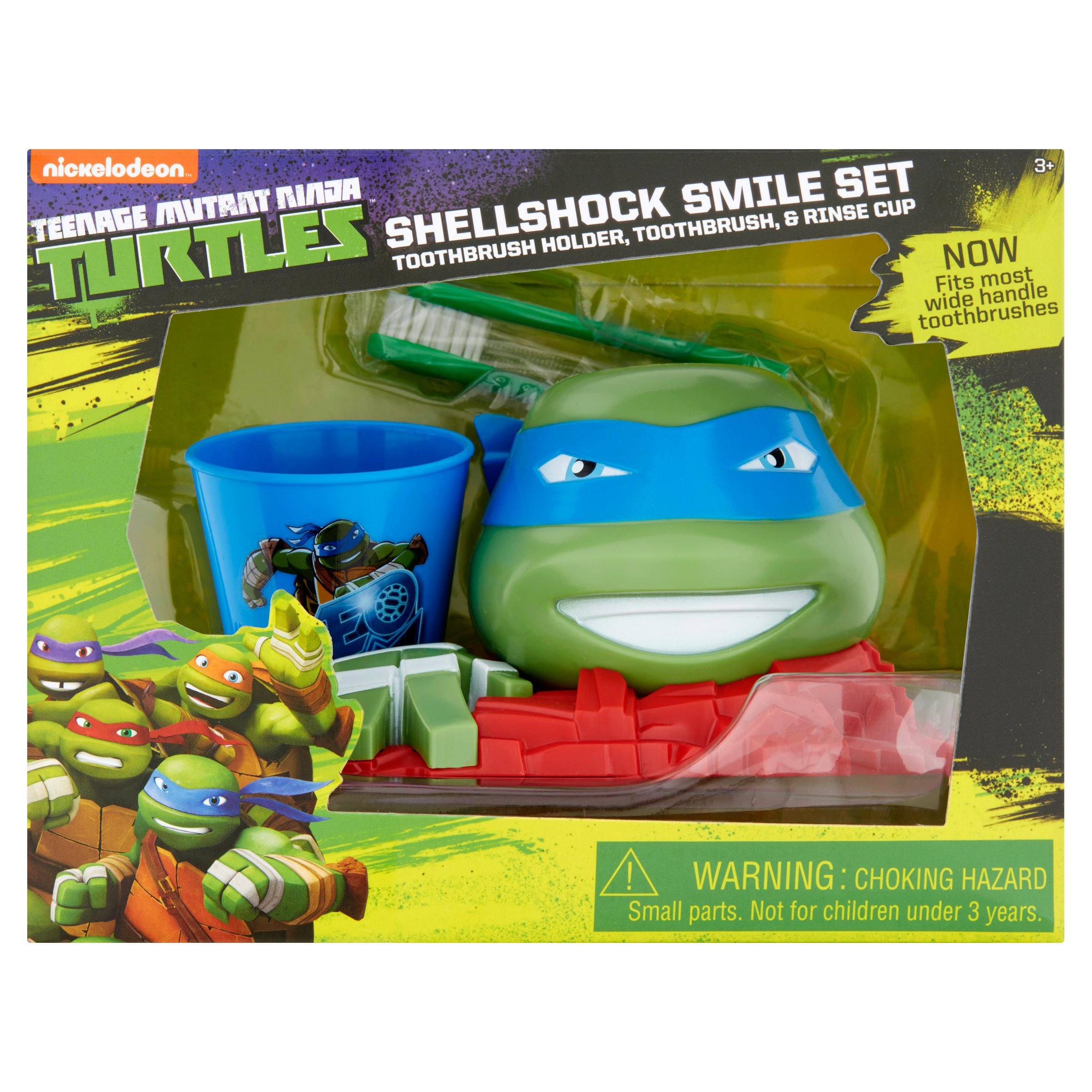 Teenage Mutant Ninja Turtles Shellshock Toothbrush, Toothbrush Holder, Rinse Cup Gift Set, 3pcs