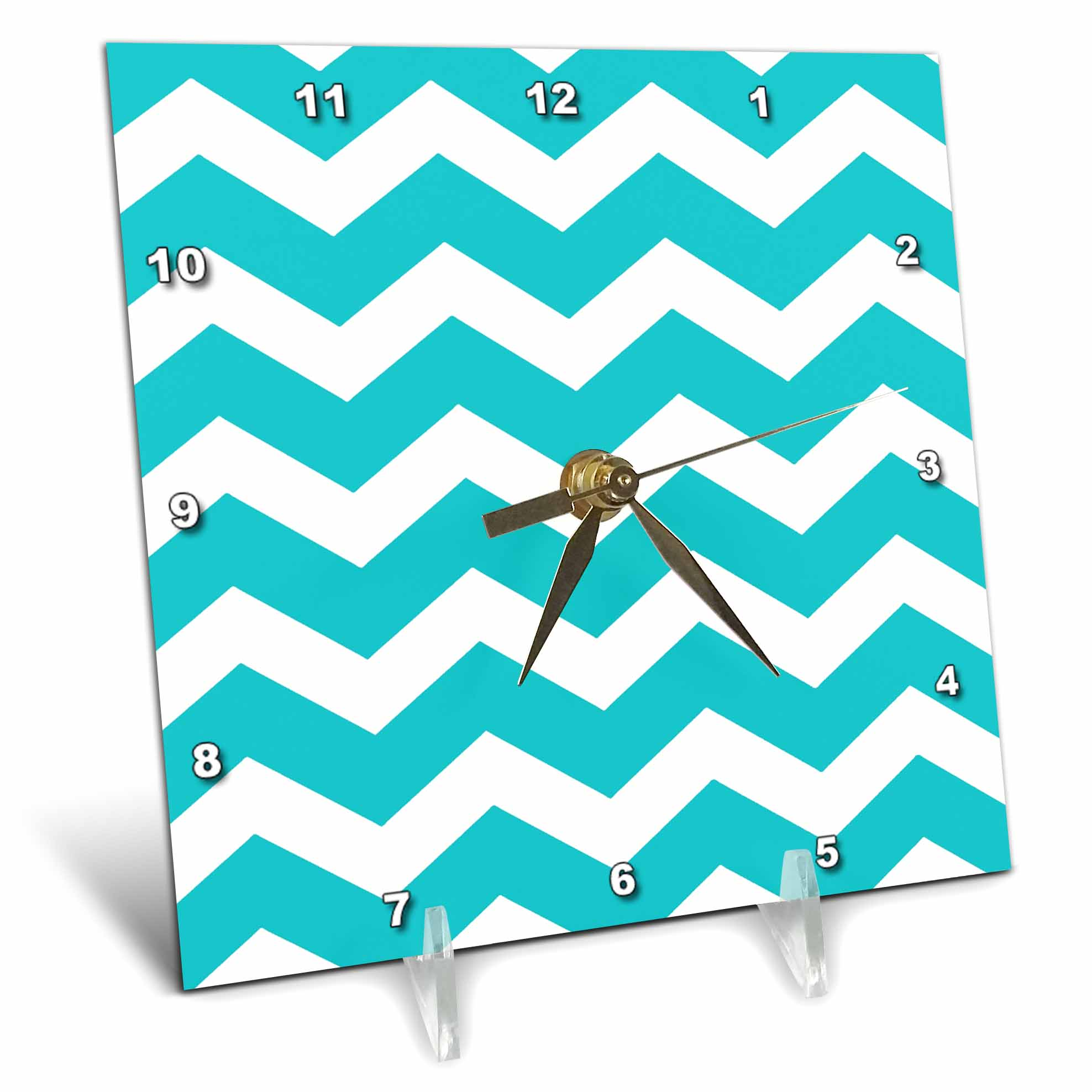 3dRose Turquoise Chevron zig zag pattern teal aqua blue stylish zigzags, Desk Clock, 6 by 6-inch by 3dRose