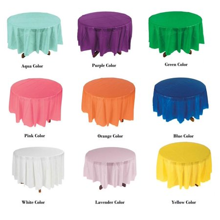 12 Piece Plastic Disposable Tablecloth 84 Inch Round Table Cover - Round Plastic Table Cloths