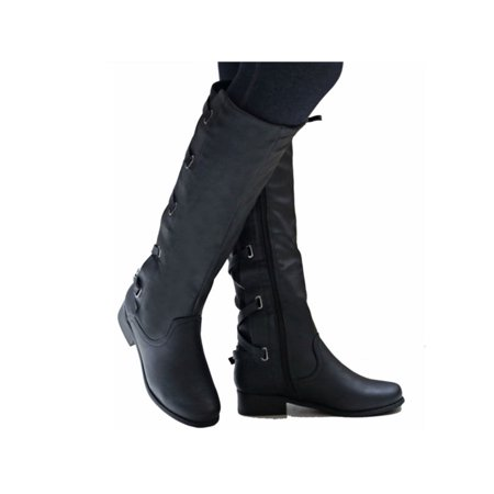 Womens Knee High Boots Lace Up Combat Faux Leather Block Heels Motorcycle Shoes