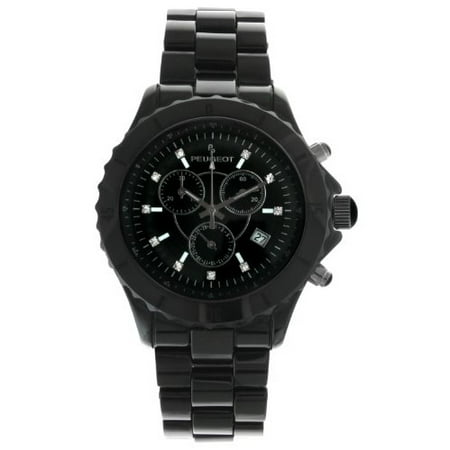 Men's Swiss Chronograph Black Genuine Ceramic Crystal Marker Dress Watch (Polished Genuine Swiss)