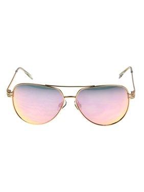 Foster Grant Women's Rose Gold Mirrored Aviator Sunglasses I02