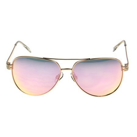 Foster Grant Women's Rose Gold Mirrored Aviator Sunglasses I02