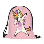 Unicorn Cute Dabbing Funny Dab Dance Print Drawstring Backpack,Sackpack String Bag Cinch Water Resistant Nylon Beach Bag for Gym Shopping Sport Yoga