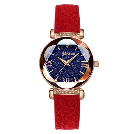 Women Fashion Casual Diamond Crystal Matte Background Leather Watchband Quartz Watch red ()