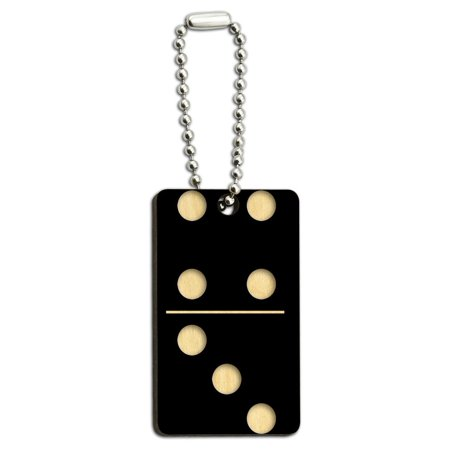 Single Black Domino - Game Dominoes Wood Rectangle Key Chain