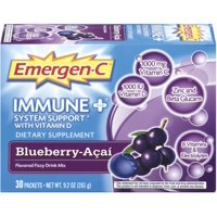 Emergen-C Immune+ System Support with Vitamin D Flavored Fizzy Drink Mix, Blueberry-Acai 30 ea