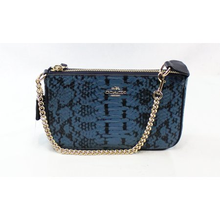 Coach NEW Blue Exotic Embossed Nolita Baguette Zip Top Leather -