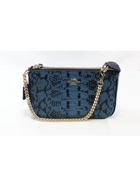 f5477ae69a5 Product Image Coach NEW Blue Exotic Embossed Nolita Baguette Zip Top  Leather Purse