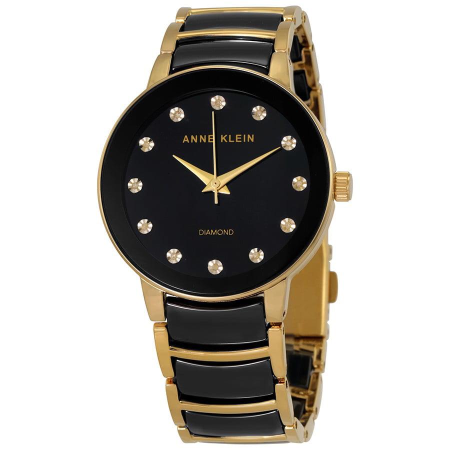 Anne Klein Black Dial Diamond Ladies Watch 2672BKGB