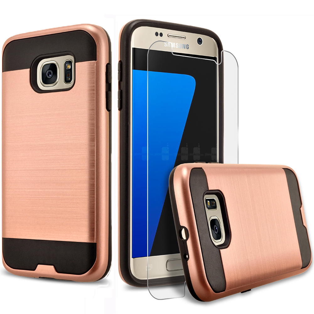 Samsung Galaxy S7 Active Case, 2-Piece Style Hybrid Shockproof Hard Case Cover with [Premium Screen Protector] Hybird Shockproof And Circlemalls Stylus Pen (Rose Gold)