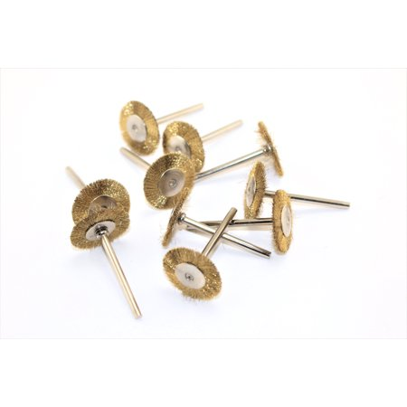 - TEMO 10 pc Brass Rotary 3/4 inch (19mm) FLAT Wire Brush Wheel #535 with 1/8 inch (3mm) shank fit Dremel or Compatible Rotary Tools