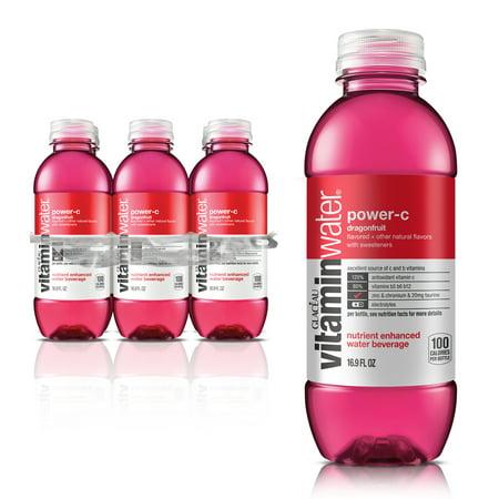 (24 Bottles) Vitaminwater, Power-C, 16.9 Fl Oz, 6 Count (Propel Grape Zero)