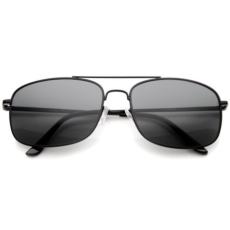 sunglassLA - Classic Metal Crossbar Spring Loaded Hinges Square Lens Aviator Sunglasses 55mm (Black / Smoke) - 55mm (Ray Ban Square Aviator Sonnenbrillen)