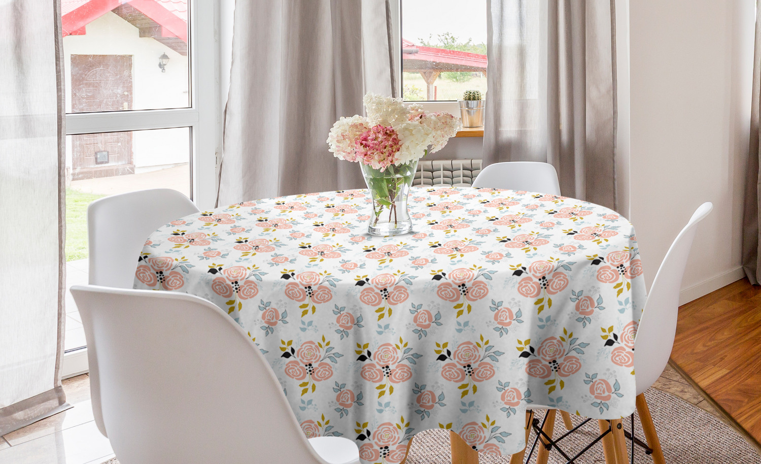 Flower Round Tablecloth Abstract Simplistic Delicate Floral Art Pattern Circle Table Cloth Cover For Dining Room Kitchen Decor 60 Blush White Fawn By Ambesonne Walmart Com Walmart Com