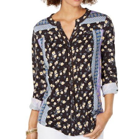 Womens Top Knit Roll Tab Button Front Ditsy XL Tab Front Shirt