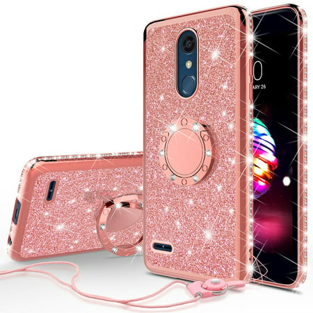 - Cute Glitter Phone Case Kickstand for LG Stylo 4 / Stylo 4 Plus Case,Clear Bling Diamond Bumper Ring Stand Girls Women for LG Stylo 4/Stylo 4 Plus - Rose Gold