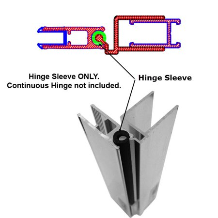 Heavy Gauge Continuous Hinge - Hinge Sleeve for Shower Doors with Continuous Hinge - 64