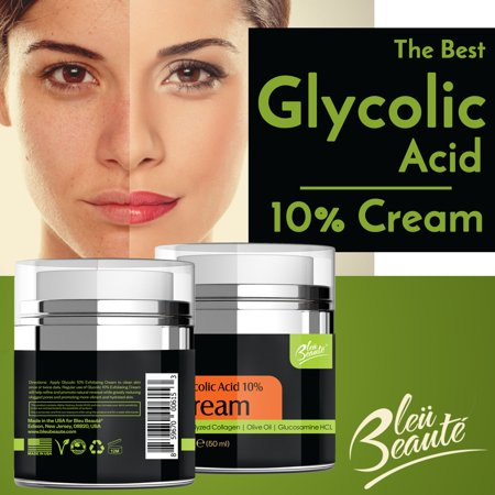 Glycolic Acid Facial Cream (Glycolic Acid 10% Cream with Antioxidants, Hydrated Collagen Olive Oil (*))