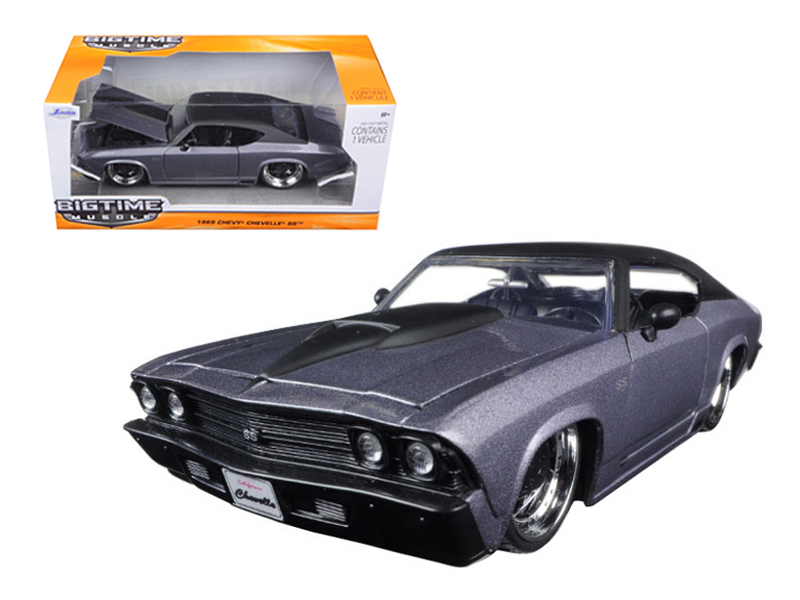 1969 Chevrolet Chevelle SS Grey With Matte Black Top and Hood Scoop 1 24 Diecast Model Car... by Jada